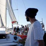 Croisière en Corse Août  Fred à la manoeuvre