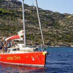 Croisière en Corse Août  On se prépare à jeter lancre