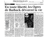 14 avril 2004 – Midi Libre – Ogres de Barback